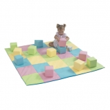 Patchwork Crawly Mat and Toddler Baby Blocks - Pastel