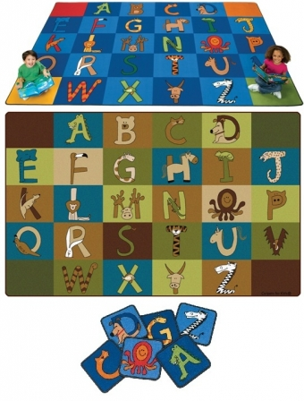 A to Z Animals Blocks Rug