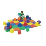 Patchwork Crawly Mat and Toddler Baby Blocks - Primary
